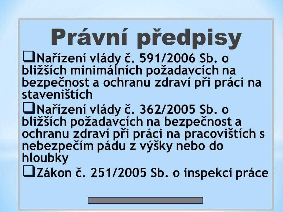 Právní předpisy  Nařízení vlády č. 591/2006 Sb. o bližších minimálních požadavcích na bezpečnost a ochranu zdraví při práci na staveništích  Nařízen