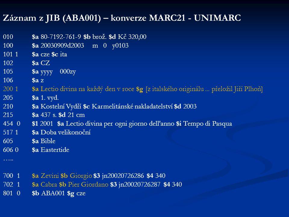 Záznam z JIB (ABA001) – konverze MARC21 - UNIMARC 010 $a 80-7192-761-9 $b brož. $d Kč 320,00 100 $a 20030909d2003 m 0 y0103 101 1 $a cze $c ita 102 $a