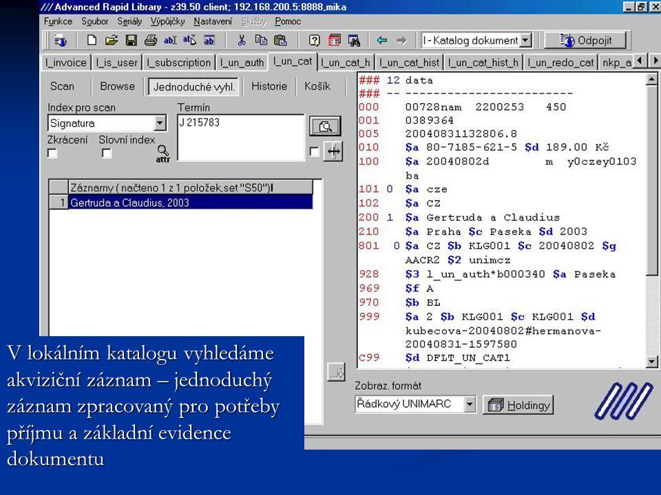 Akviziční záznam uložíme do seznamu záznamů v klientu Z39-50 a pomocí CTRL+C zkopírujeme ISBN