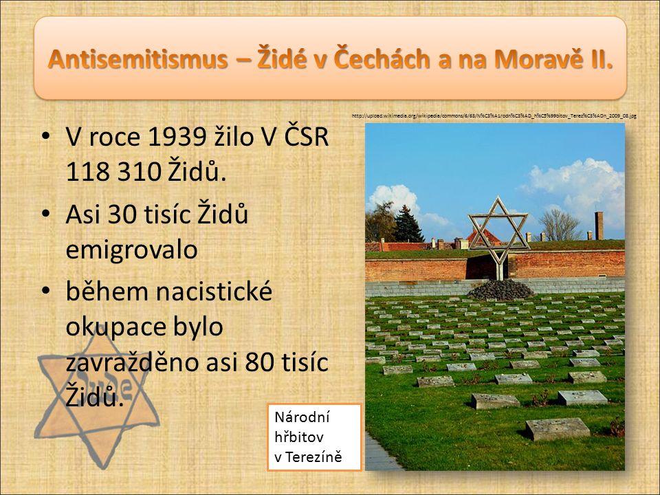 V roce 1939 žilo V ČSR 118 310 Židů. Asi 30 tisíc Židů emigrovalo během nacistické okupace bylo zavražděno asi 80 tisíc Židů. Národní hřbitov v Terezí