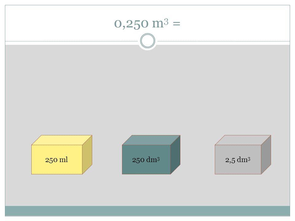 0,250 m 3 = 250 ml250 dm 3 2,5 dm 3