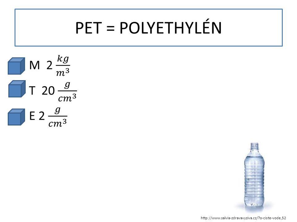PET = POLYETHYLÉN http://www.salvia-zdravavyziva.cz/?o-ciste-vode,52