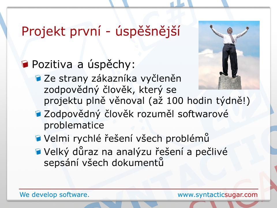 Projekt první - úspěšnější Pozitiva a úspěchy: Ze strany zákazníka vyčleněn zodpovědný člověk, který se projektu plně věnoval (až 100 hodin týdně!) Zo