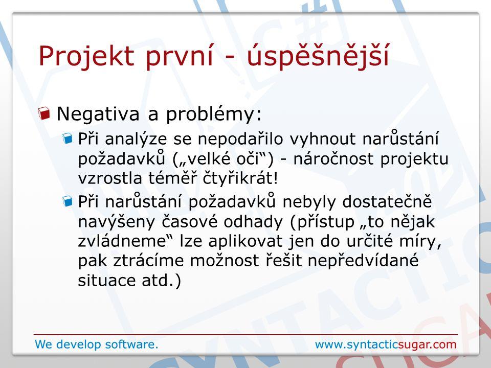 """Projekt první - úspěšnější Negativa a problémy: Při analýze se nepodařilo vyhnout narůstání požadavků (""""velké oči"""") - náročnost projektu vzrostla témě"""