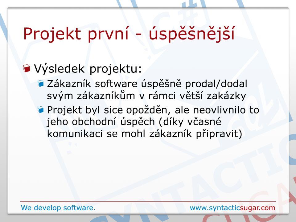 Projekt první - úspěšnější Výsledek projektu: Zákazník software úspěšně prodal/dodal svým zákazníkům v rámci větší zakázky Projekt byl sice opožděn, a