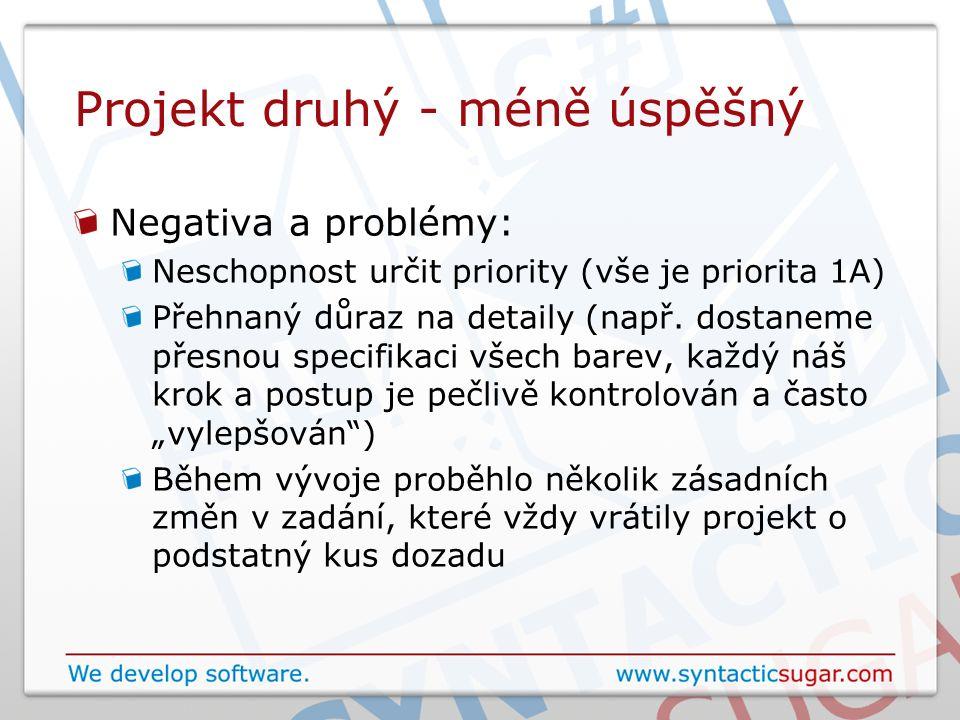 Projekt druhý - méně úspěšný Negativa a problémy: Neschopnost určit priority (vše je priorita 1A) Přehnaný důraz na detaily (např. dostaneme přesnou s