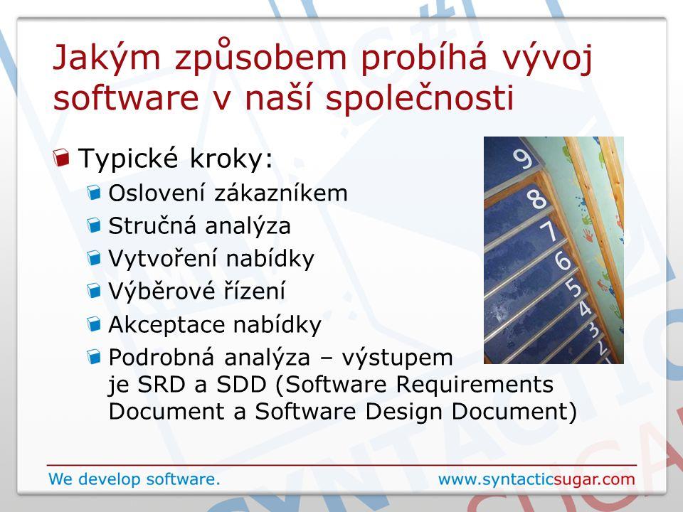 Jakým způsobem probíhá vývoj software v naší společnosti Typické kroky: Oslovení zákazníkem Stručná analýza Vytvoření nabídky Výběrové řízení Akceptace nabídky Podrobná analýza – výstupem je SRD a SDD (Software Requirements Document a Software Design Document)