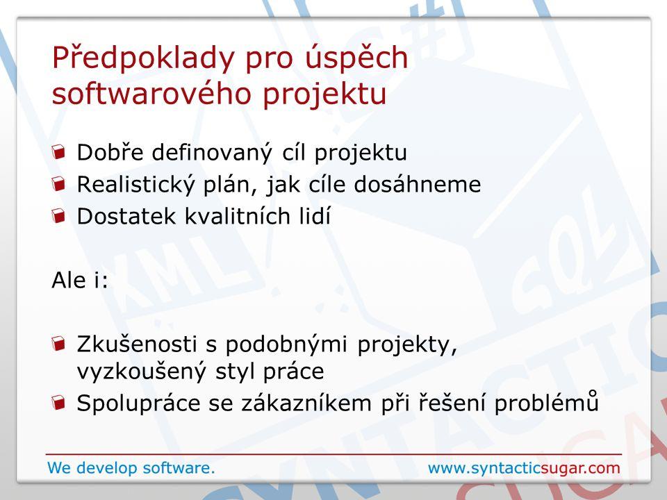 Předpoklady pro úspěch softwarového projektu Dobře definovaný cíl projektu Realistický plán, jak cíle dosáhneme Dostatek kvalitních lidí Ale i: Zkušenosti s podobnými projekty, vyzkoušený styl práce Spolupráce se zákazníkem při řešení problémů