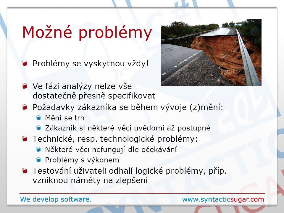 Možné problémy Problémy se vyskytnou vždy! Ve fázi analýzy nelze vše dostatečně přesně specifikovat Požadavky zákazníka se během vývoje (z)mění: Mění