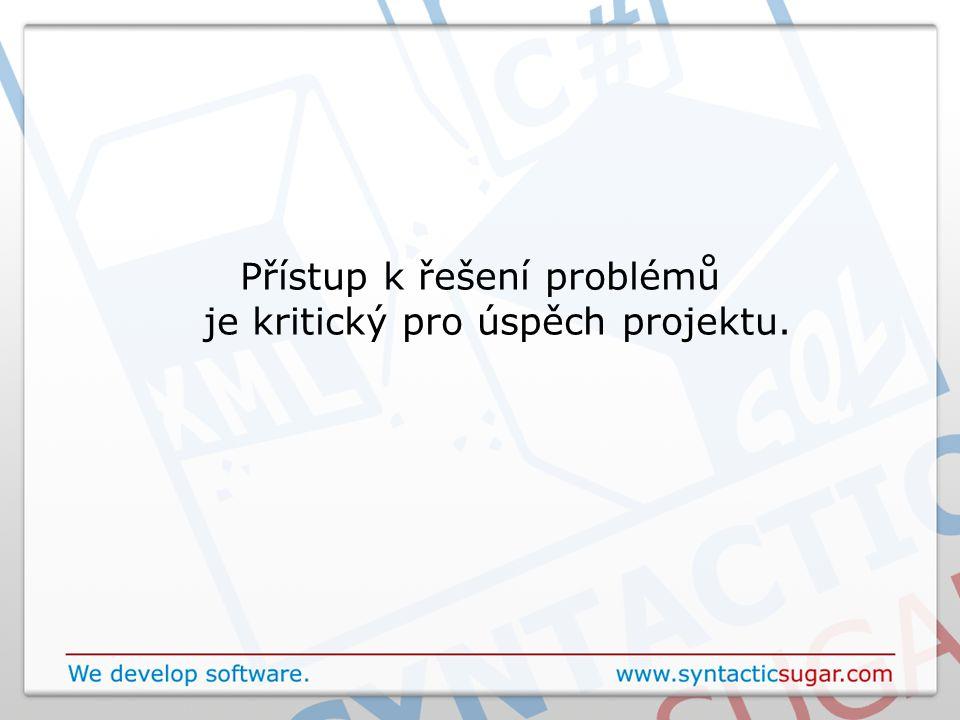 Přístup k řešení problémů je kritický pro úspěch projektu.