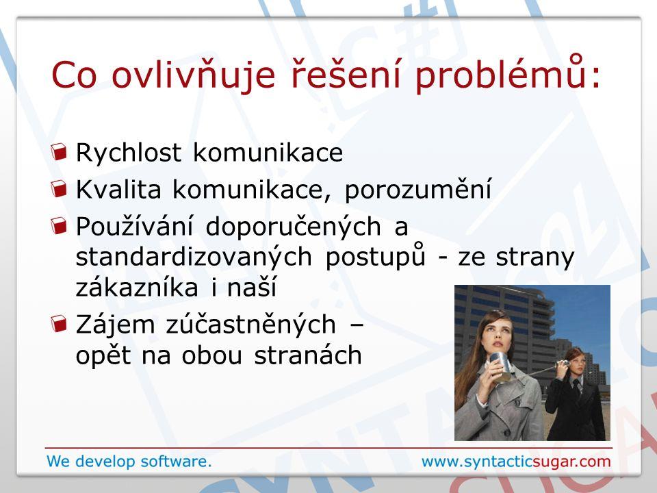 Co ovlivňuje řešení problémů: Rychlost komunikace Kvalita komunikace, porozumění Používání doporučených a standardizovaných postupů - ze strany zákazníka i naší Zájem zúčastněných – opět na obou stranách