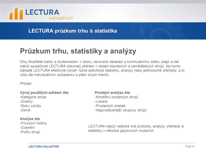 LECTURA VALUATION Page 10 LECTURA průzkum trhu & statistika Průzkum trhu, statistiky a analýzy Díky třicetileté tradici a zkušenostem v oboru, obrovské databázi a kontinuálnímu sběru údajů a dat nabízí společnost LECTURA dokonalý přehled v oblasti stavebních a zemědělských strojů.