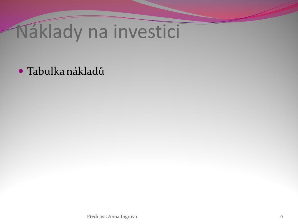 Náklady na investici Tabulka nákladů Přednáší: Anna Ingrová6