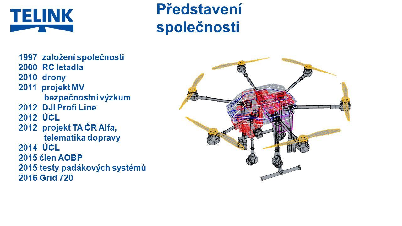 Představení společnosti 1997 založení společnosti 2000 RC letadla 2010 drony 2011 projekt MV bezpečnostní výzkum 2012 DJI Profi Line 2012 ÚCL 2012 projekt TA ČR Alfa, telematika dopravy 2014 ÚCL 2015 člen AOBP 2015 testy padákových systémů 2016 Grid 720