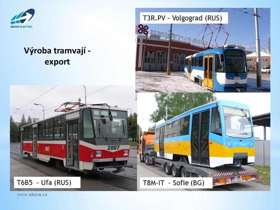 Výroba tramvají - export T8M-IT - Sofie (BG) T3R.PV – Volgograd (RUS) T6B5 - Ufa (RUS) www.ekova.cz