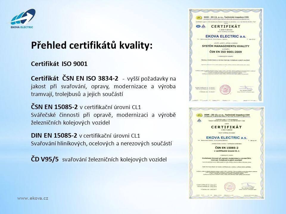 Přehled certifikátů kvality: Certifikát ISO 9001 Certifikát ČSN EN ISO 3834-2 - vyšší požadavky na jakost při svařování, opravy, modernizace a výroba tramvají, trolejbusů a jejich součástí ČSN EN 15085-2 v certifikační úrovni CL1 Svářečské činnosti při opravě, modernizaci a výrobě železničních kolejových vozidel DIN EN 15085-2 v certifikační úrovni CL1 Svařování hliníkových, ocelových a nerezových součástí ČD V95/5 svařování železničních kolejových vozidel www.ekova.cz