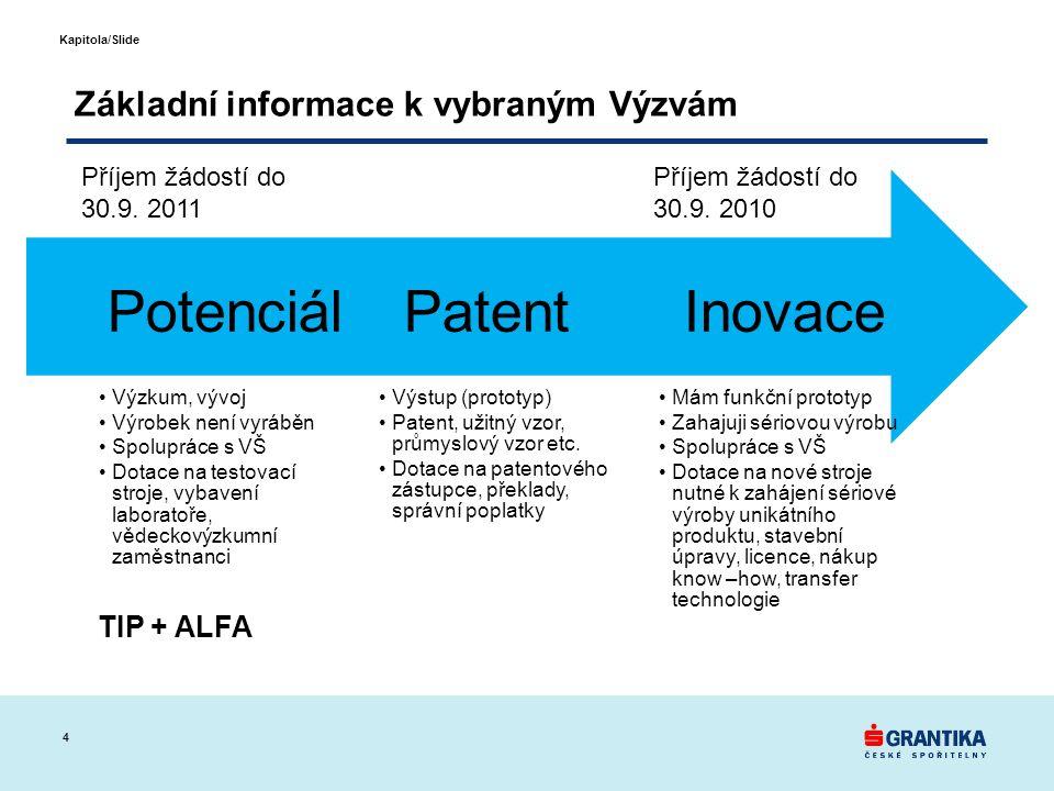 4 Kapitola/Slide Základní informace k vybraným Výzvám Mám funkční prototyp Zahajuji sériovou výrobu Spolupráce s VŠ Dotace na nové stroje nutné k zahájení sériové výroby unikátního produktu, stavební úpravy, licence, nákup know –how, transfer technologie Inovace Výstup (prototyp) Patent, užitný vzor, průmyslový vzor etc.