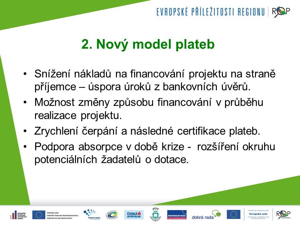 2. Nový model plateb Snížení nákladů na financování projektu na straně příjemce – úspora úroků z bankovních úvěrů. Možnost změny způsobu financování v