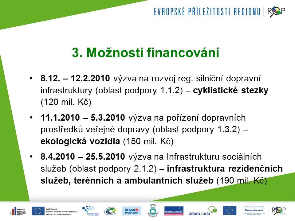 3. Možnosti financování 8.12. – 12.2.2010 výzva na rozvoj reg.