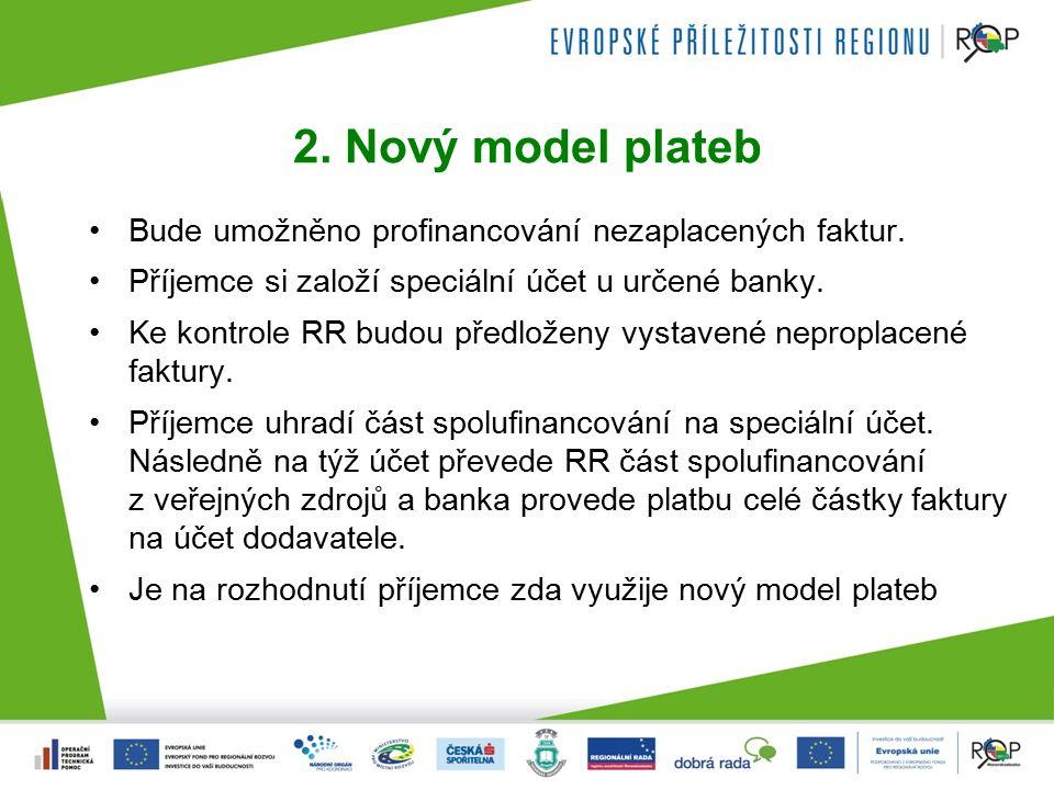 2. Nový model plateb Bude umožněno profinancování nezaplacených faktur.