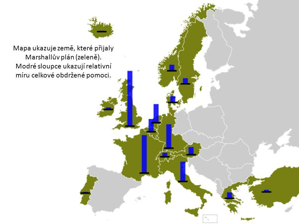 Mapa ukazuje země, které přijaly Marshallův plán (zeleně).