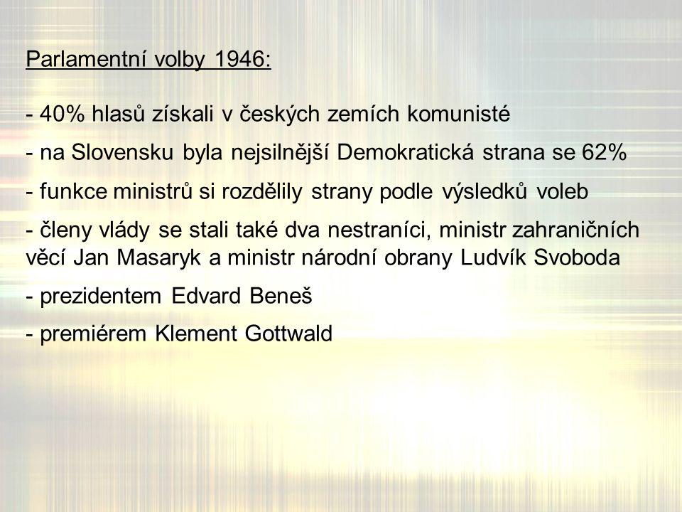 Parlamentní volby 1946: - 40% hlasů získali v českých zemích komunisté - na Slovensku byla nejsilnější Demokratická strana se 62% - funkce ministrů si rozdělily strany podle výsledků voleb - členy vlády se stali také dva nestraníci, ministr zahraničních věcí Jan Masaryk a ministr národní obrany Ludvík Svoboda - prezidentem Edvard Beneš - premiérem Klement Gottwald
