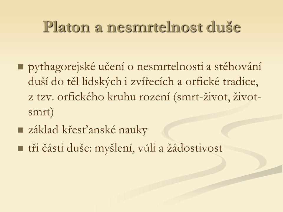 Platon a nesmrtelnost duše pythagorejské učení o nesmrtelnosti a stěhování duší do těl lidských i zvířecích a orfické tradice, z tzv.
