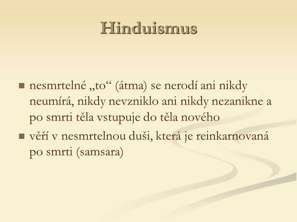 """Hinduismus nesmrtelné """"to (átma) se nerodí ani nikdy neumírá, nikdy nevzniklo ani nikdy nezanikne a po smrti těla vstupuje do těla nového věří v nesmrtelnou duši, která je reinkarnovaná po smrti (samsara)"""