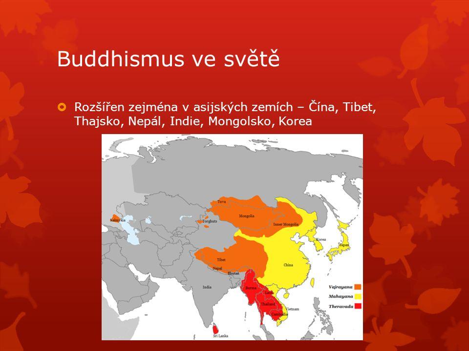 Buddhismus ve světě  Rozšířen zejména v asijských zemích – Čína, Tibet, Thajsko, Nepál, Indie, Mongolsko, Korea