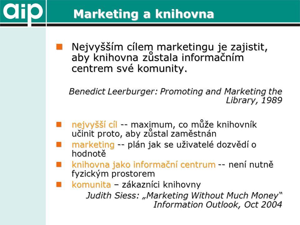 Marketing a knihovna Nejvyšším cílem marketingu je zajistit, aby knihovna zůstala informačním centrem své komunity. Nejvyšším cílem marketingu je zaji