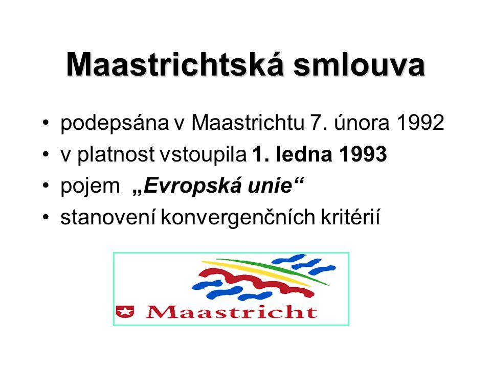 Maastrichtská smlouva podepsána v Maastrichtu 7. února 1992 v platnost vstoupila 1.