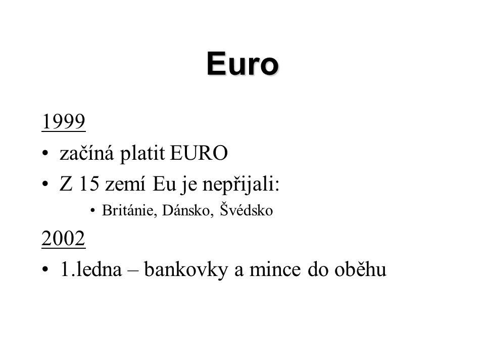 Euro 1999 začíná platit EURO Z 15 zemí Eu je nepřijali: Británie, Dánsko, Švédsko 2002 1.ledna – bankovky a mince do oběhu