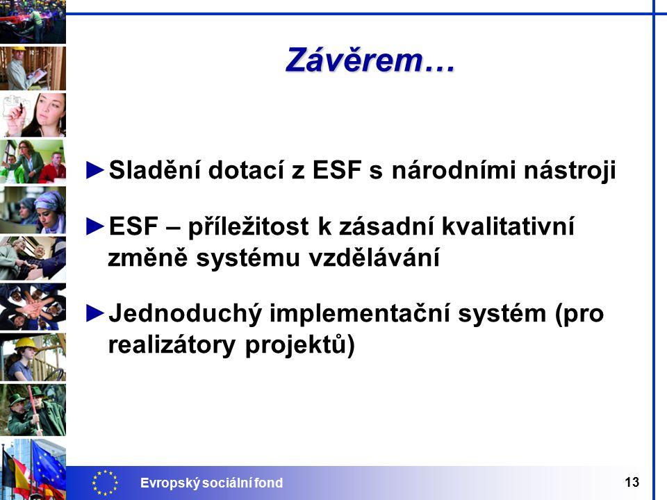 Evropský sociální fond 13 Závěrem… ►Sladění dotací z ESF s národními nástroji ►ESF – příležitost k zásadní kvalitativní změně systému vzdělávání ►Jednoduchý implementační systém (pro realizátory projektů)