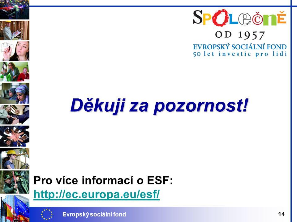 Evropský sociální fond 14 Pro více informací o ESF: http://ec.europa.eu/esf/ Děkuji za pozornost!