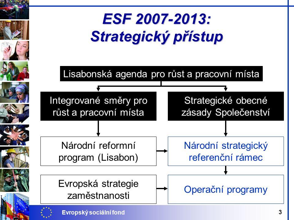 Evropský sociální fond 3 ESF 2007-2013: Strategický přístup Integrované směry pro růst a pracovní místa Národní reformní program (Lisabon) Strategické obecné zásady Společenství Národní strategický referenční rámec Operační programy Lisabonská agenda pro růst a pracovní místa Evropská strategie zaměstnanosti