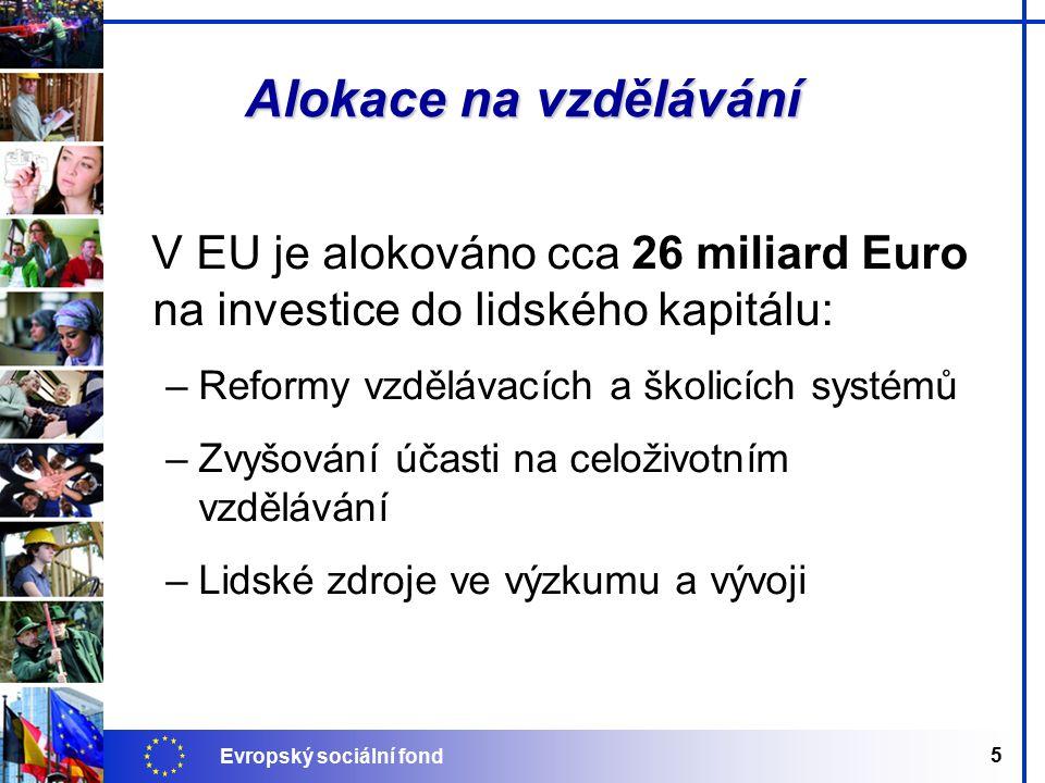 Evropský sociální fond 5 Alokace na vzdělávání V EU je alokováno cca 26 miliard Euro na investice do lidského kapitálu: –Reformy vzdělávacích a školicích systémů –Zvyšování účasti na celoživotním vzdělávání –Lidské zdroje ve výzkumu a vývoji