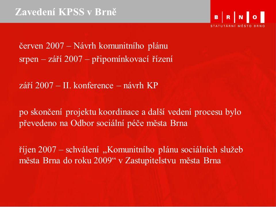 Zavedení KPSS v Brně červen 2007 – Návrh komunitního plánu srpen – září 2007 – připomínkovací řízení září 2007 – II.