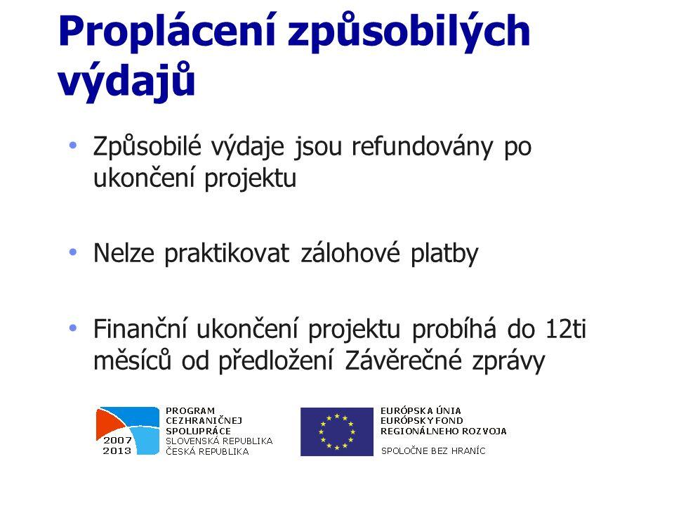 Proplácení způsobilých výdajů Způsobilé výdaje jsou refundovány po ukončení projektu Nelze praktikovat zálohové platby Finanční ukončení projektu probíhá do 12ti měsíců od předložení Závěrečné zprávy