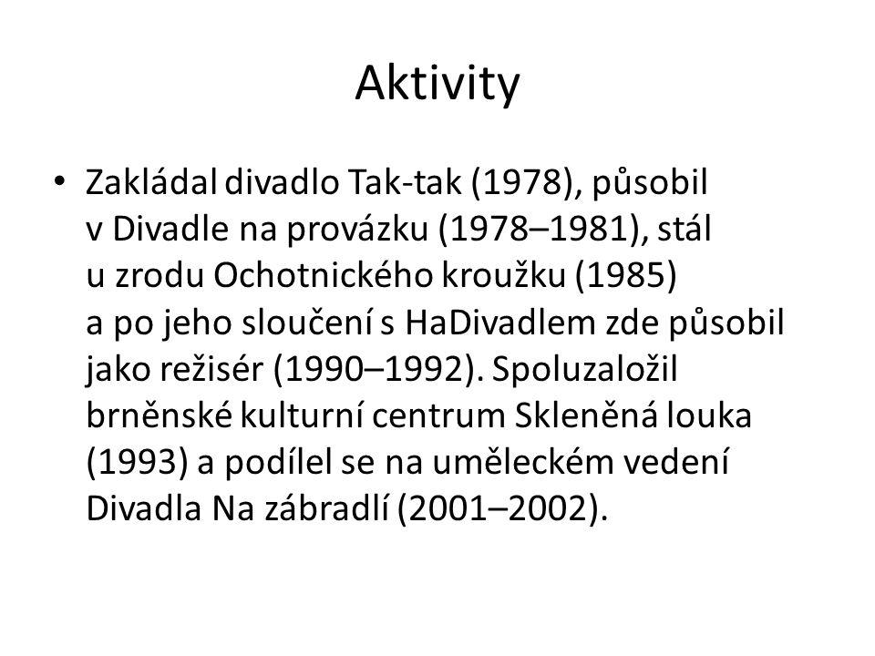 Aktivity Zakládal divadlo Tak-tak (1978), působil v Divadle na provázku (1978–1981), stál u zrodu Ochotnického kroužku (1985) a po jeho sloučení s HaDivadlem zde působil jako režisér (1990–1992).
