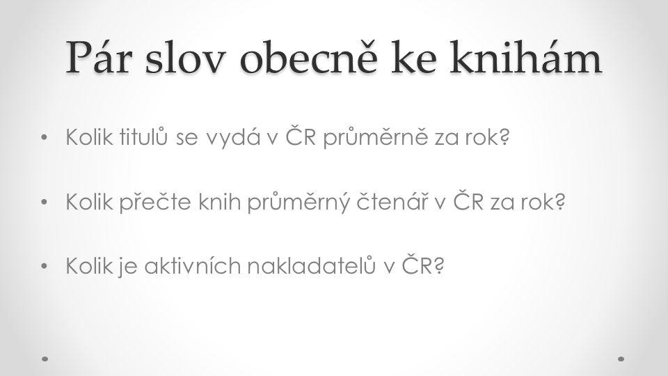 Pár slov obecně ke knihám Kolik titulů se vydá v ČR průměrně za rok.
