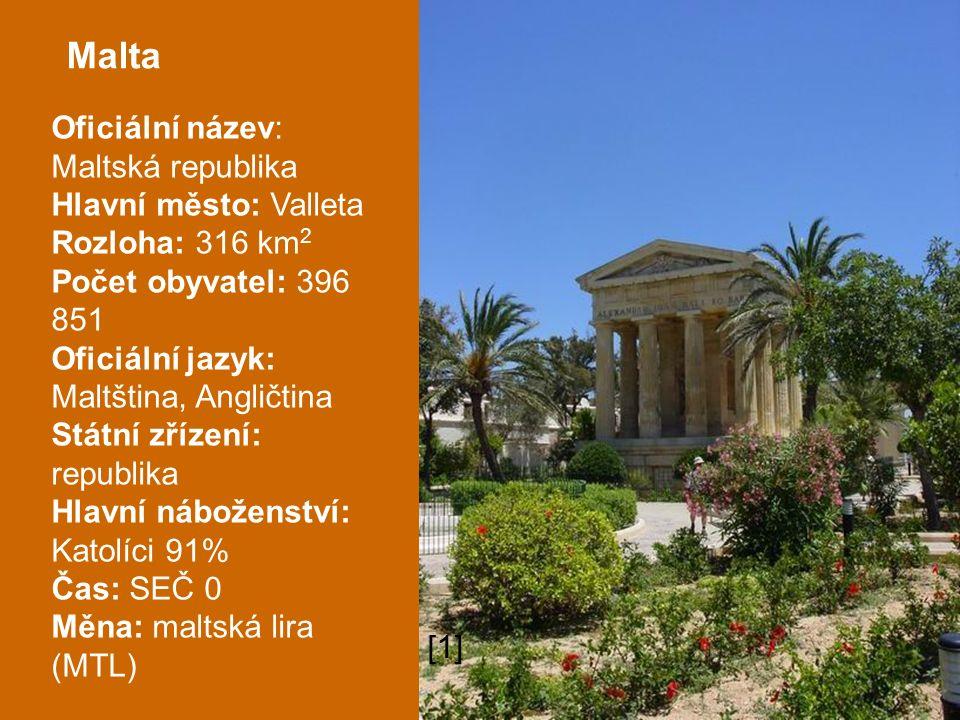 Malta Oficiální název: Maltská republika Hlavní město: Valleta Rozloha: 316 km 2 Počet obyvatel: 396 851 Oficiální jazyk: Maltština, Angličtina Státní