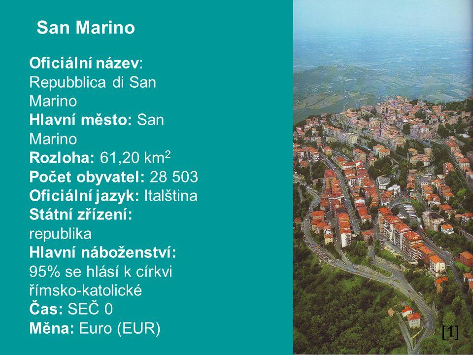 San Marino Oficiální název: Repubblica di San Marino Hlavní město: San Marino Rozloha: 61,20 km 2 Počet obyvatel: 28 503 Oficiální jazyk: Italština St