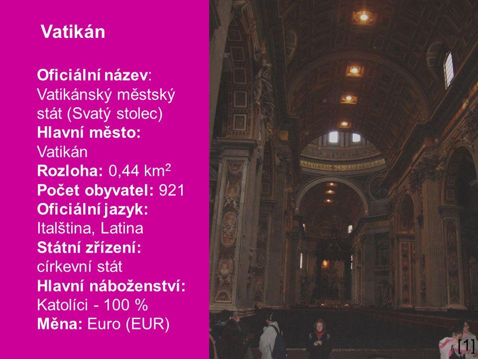Vatikán Oficiální název: Vatikánský městský stát (Svatý stolec) Hlavní město: Vatikán Rozloha: 0,44 km 2 Počet obyvatel: 921 Oficiální jazyk: Italština, Latina Státní zřízení: církevní stát Hlavní náboženství: Katolíci - 100 % Měna: Euro (EUR) Co je Vatikán.