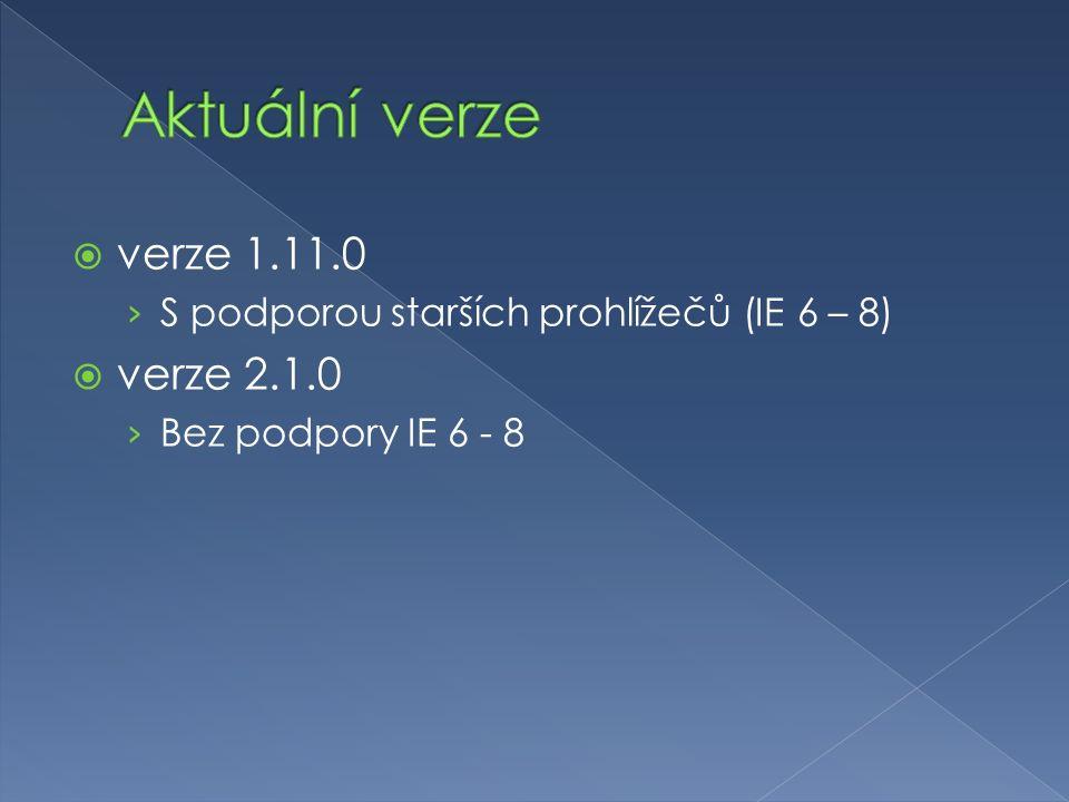  verze 1.11.0 › S podporou starších prohlížečů (IE 6 – 8)  verze 2.1.0 › Bez podpory IE 6 - 8