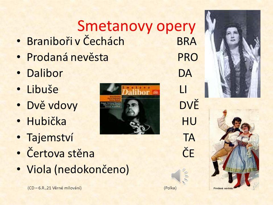 Bedřich Smetana (1824 – 1884)  19.století – romantismus  tvůrce české národní opery  narodil se v Litomyšli  studoval na plzeňském gymnáziu  cesty do Švédska (Göteborg)  na sklonku života ohluchl