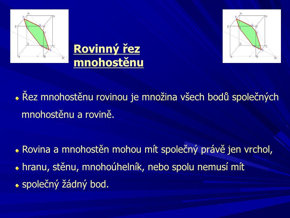 Rovinný řez mnohostěnu Řez mnohostěnu rovinou je množina všech bodů společných mnohostěnu a rovině.
