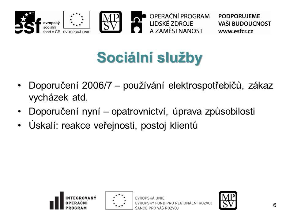Sociální služby Doporučení 2006/7 – používání elektrospotřebičů, zákaz vycházek atd.