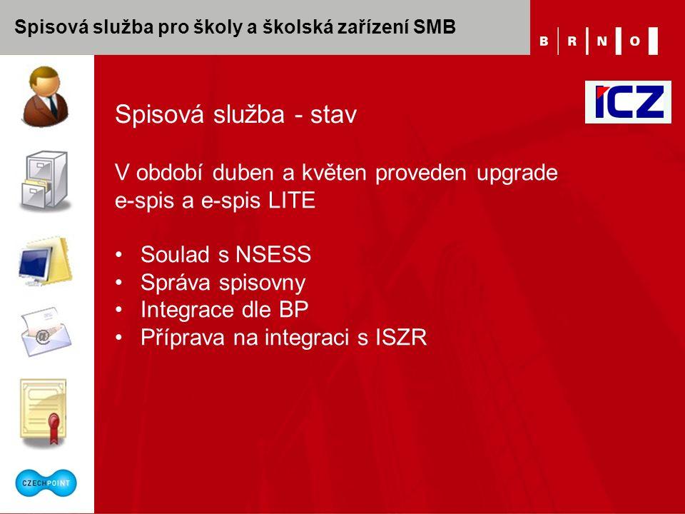 Spisová služba pro školy a školská zařízení SMB Spisová služba - stav V období duben a květen proveden upgrade e-spis a e-spis LITE Soulad s NSESS Správa spisovny Integrace dle BP Příprava na integraci s ISZR