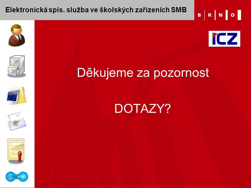 Elektronická spis. služba ve školských zařízeních SMB Děkujeme za pozornost DOTAZY?