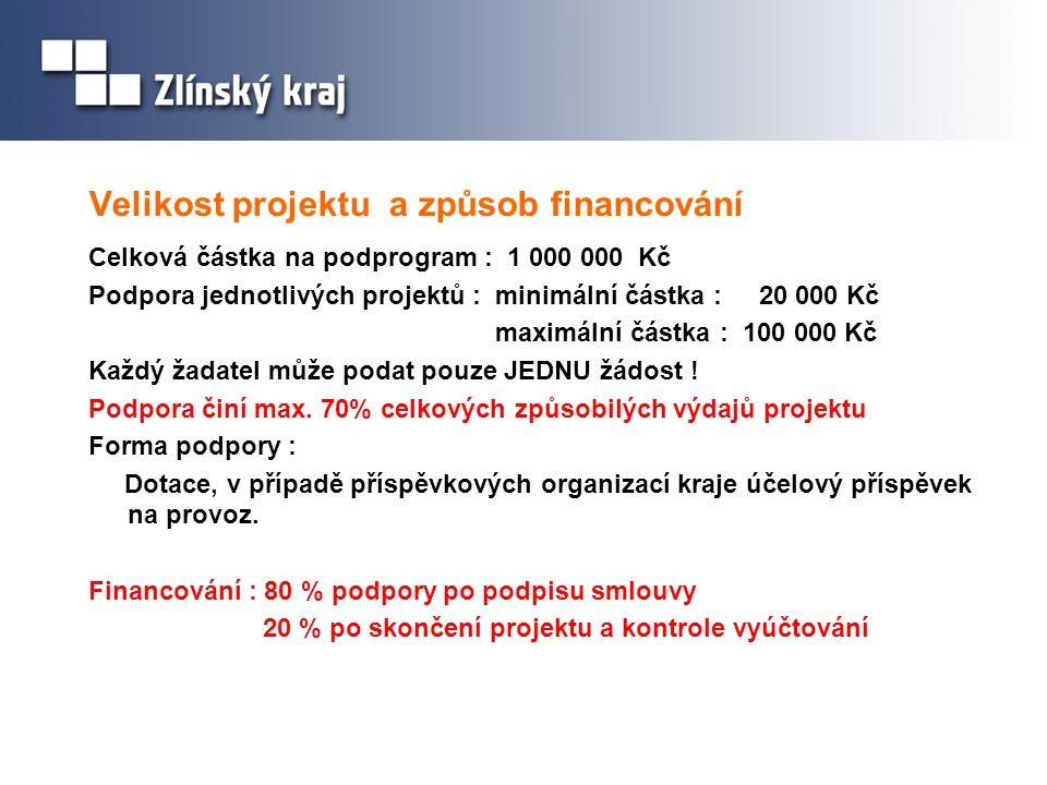 Velikost projektu a způsob financování Celková částka na podprogram : 1 000 000 Kč Podpora jednotlivých projektů : minimální částka : 20 000 Kč maximá